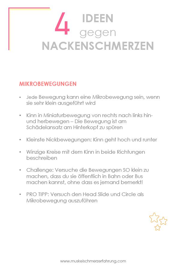 Nacken Übung Mikrobewegung Anleitung. Ideen gegen Nackenverspannungen